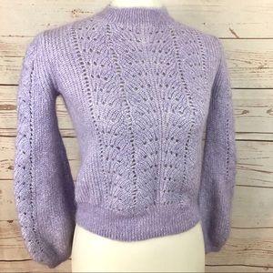Little Moon Lavender Balloon Sleeve Mohair Sweater